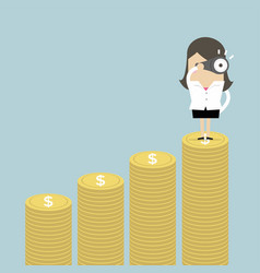 businesswoman looking future on money graph vector image