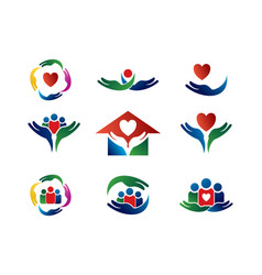 care logo collection vector image