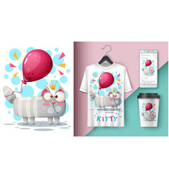 cat and balloon - mockup for your idea vector image
