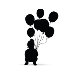 child silhouette with balloon in black vector image