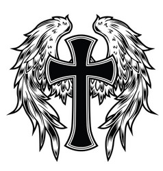 christian cross wing graphic detailed angel or bi vector image