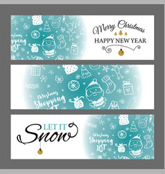 Christmas banners set with design elements in vector