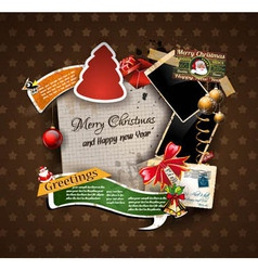 Christmas Vintage scrapbook composition vector image