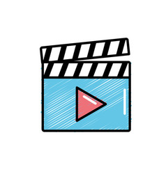 clapperboard with video movie studio icon vector image