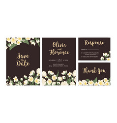 collection wedding inviting cards with floral vector image