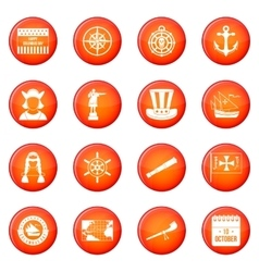 Columbus Day icons set vector