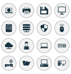 Computer icons set collection of defense vector