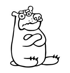 cute grumpy cartoon bear vector image