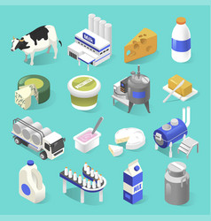 Dairy products factory isometric set on blue vector