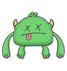 Dead green goblin cartoon monster vector