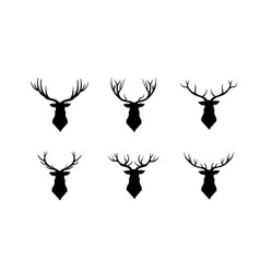 deer head silhouette wild animal reindeer set vector image