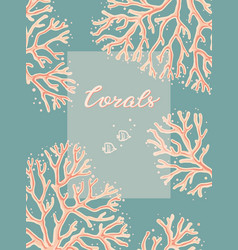 design template with hand-drawn corals on a living vector image