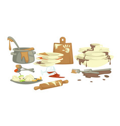 Dishware dirty plates and cups saucepan and food vector