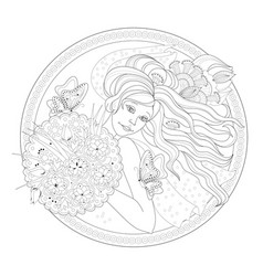 drawing beautiful girl with bouquet flowers vector image