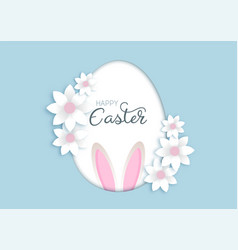 easter background with flowers and bunny ears vector image
