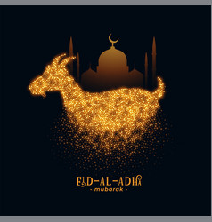 Eid al adha greeting with goat and mosque design vector