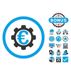 Euro Payment Options Flat Icon with Bonus vector image