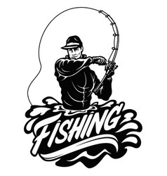 fisherman in action guy is throwing spoon fly vector image