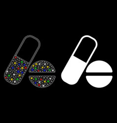 Flare mesh network drugs icon with flare spots vector