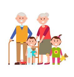 Grandparents and grandchildren vector