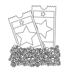 Grayscale contour with popcorn and movie tickets vector