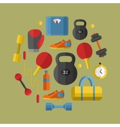 Gym sports equipment banner vector