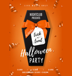 halloween party poster with black coffin vector image