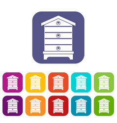 Hive icons set vector