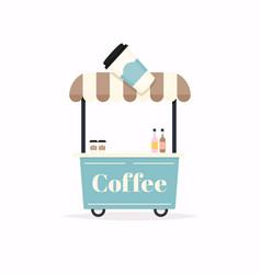 Hot coffee kiosk street food cart vector