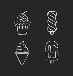 ice cream varieties chalk white icons set vector image