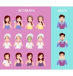 Instructions to wash face of woman and man vector