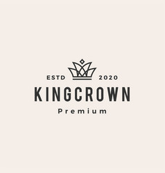king crown hipster vintage logo icon vector image