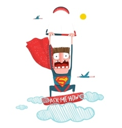 Kitesurfing superman trick cartoon in costume vector