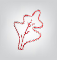 Lettuce leave sign red gradient scribble icon vector