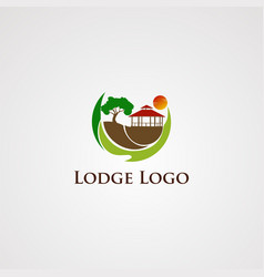 lodge logo with beautiful sun and circle wave vector image
