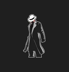 Mafia logo mascot for esport team man with fedora vector