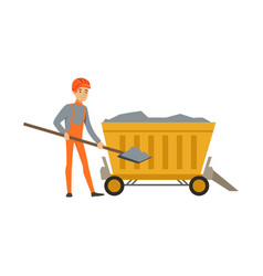 male miner working in mine with wheelbarrow and vector image