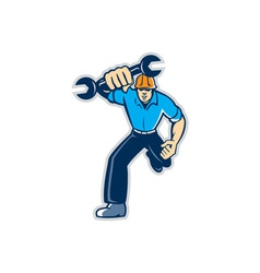 Mechanic Spanner Wrench Running Retro vector image