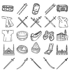 muslim-3 set icon doodle hand drawn or outline vector image