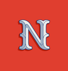N letter logo in classic sport team style vector