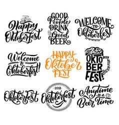 oktoberfest beer festival lettering calligraphy vector image