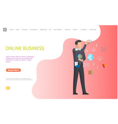 Online business web poster man and line art icons vector