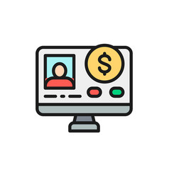 online loan application flat color line icon vector image