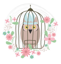 Owl bird with feathers hat and floral decoration vector