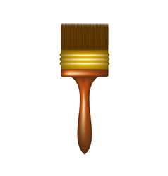 Paintbrush with wooden handle vector