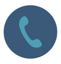 Phone flat cyan and blue colors round button vector