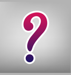 Question mark sign purple gradient icon vector