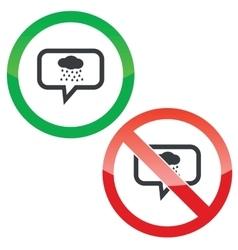 Rain message permission signs vector