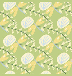 Random botanic seamlless pattern with twigs vector