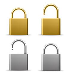 Realistic padlocks gold and silver lock vector